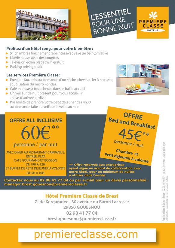 Création du verso d'un flyer pour Hôtel Première Classe à Brest