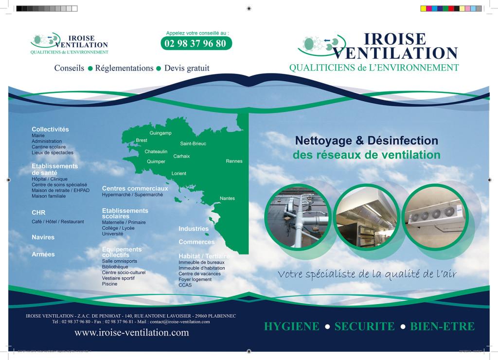 Création du recto d'une plaquette pour Iroise Ventilation à Brest